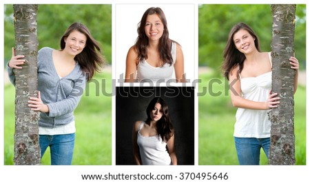 Four portraits of an attractive young woman with long brunette hair, beauty concept, four photos - stock photo