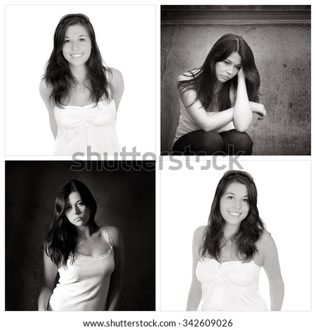 Four portraits of the same young woman, emotion concept, outdoor photos: sad and depressed, studio photos: positive and happy, black and white photos - stock photo