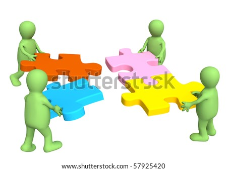 Four puppets, holding in hands a puzzle - stock photo