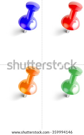 Four push pin on white background