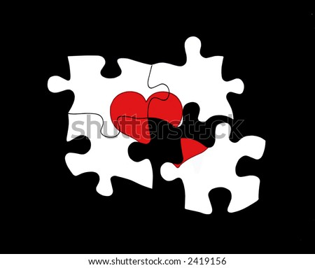 Four puzzle pieces forming a heart, with one piece separated from the whole. - stock photo