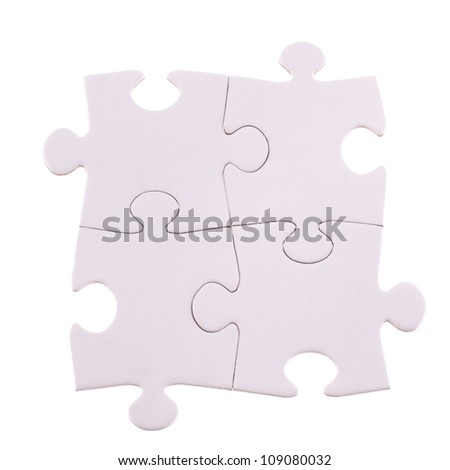 Four Puzzle pieces isolated on the white  background cutout - stock photo