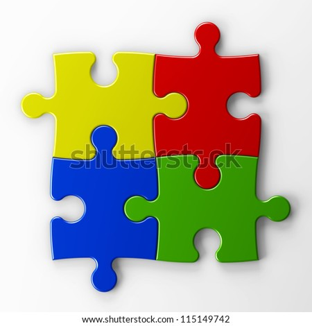 four puzzle pieces with clipping path - stock photo