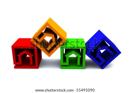 four real estate cubes in different colors - stock photo