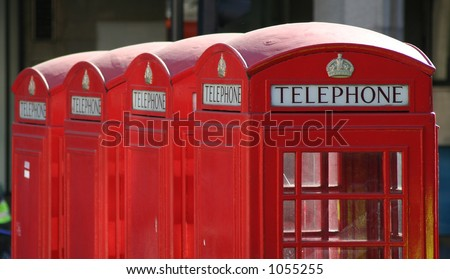 Four red London telephone boxes - stock photo