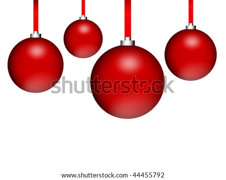 Four red spheres over white background. Illustration - stock photo
