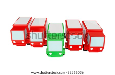 Four red trucks and green one. 3d rendered. Isolated on white. - stock photo