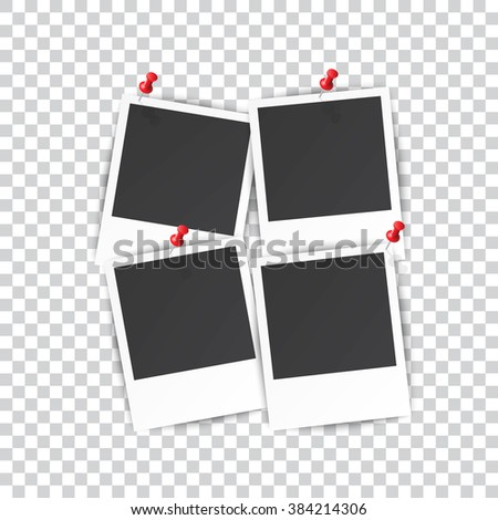 four Retro blank photography with a black place for your image in a photo album page. photo frame with shadow pinned on a transparent background for your object. illustration Raster version - stock photo