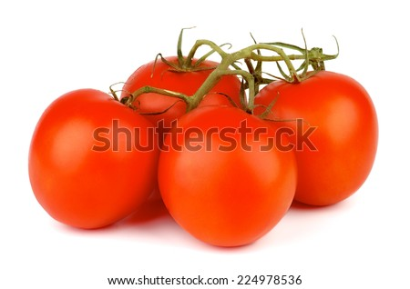 Four Ripe Raw Grape Tomatoes with Stems isolated on white background - stock photo