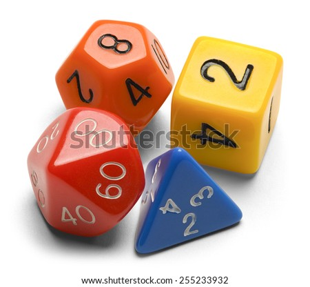 Four Roll Playing Gamer Dice Isolated on a White Background. - stock photo
