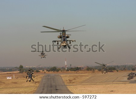 Four Rooivalk take-off towards camera - stock photo