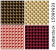 "Four seamless ""pixel"" houndstooth patterns. 6"" repeat size. - stock photo"