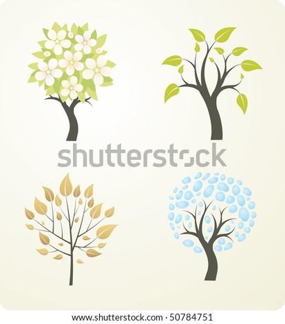 Four season tree. Vector version see in my portfolio. - stock photo