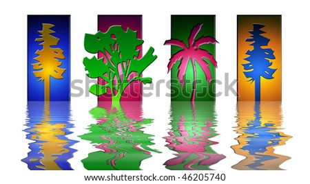 four seasons in colored rectangular blocks with water reflection