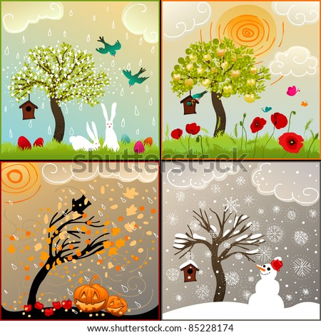 Four seasons set with tree, birdhouse, birds, pumpkin lanterns and snowman - stock photo