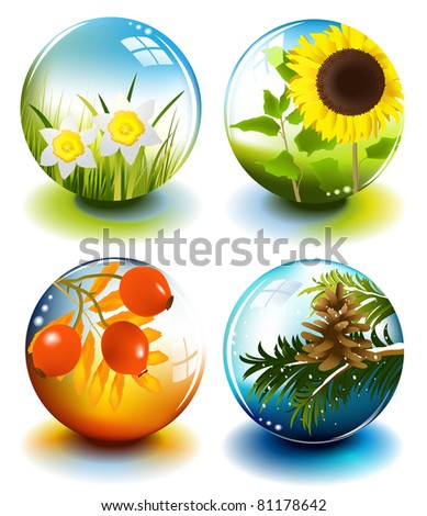 Four seasons spheres - stock photo