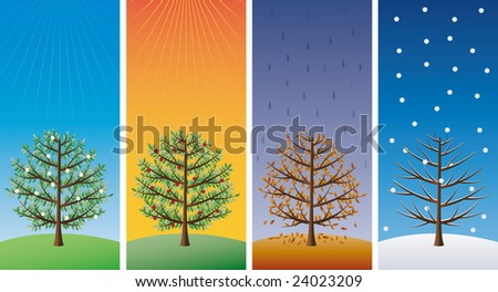 Four seasons - trees - find eps-version (vector) in my portfolio