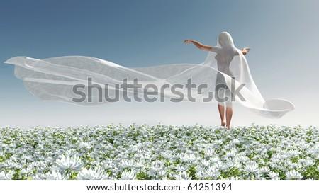 Four Seasons, woman at spring - stock photo
