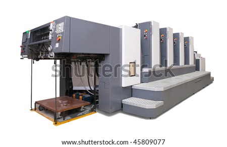 four-section offset printed machine. Isolated with clipping path