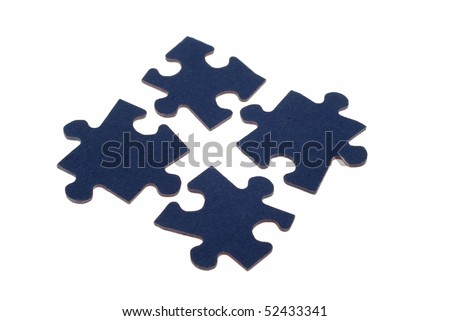 Four separated, fitting, blue, jigsaw puzzle pieces against a white background. - stock photo