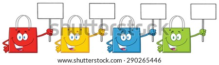 Four Shopping Bags Cartoon Character Holding Up A Blank Sign. Raster Illustration Isolated On White - stock photo