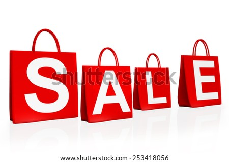 Four shopping bags with the word SALE Hanging on the wall