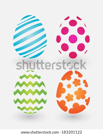 Four simple color Easter eggs