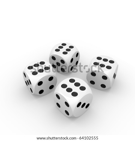 Four six dices - stock photo