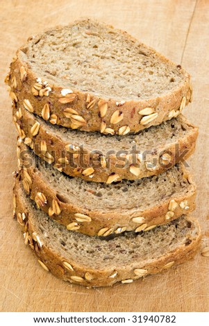 four slice of wholegrain bread with seed