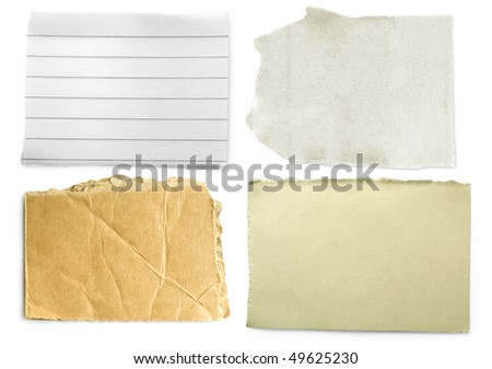 Four slices of paper isolated on white background