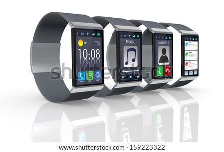four smart watch with different apps (3d render) - stock photo