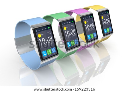 four smartwatch with the strap in different colors  (3d render) - stock photo