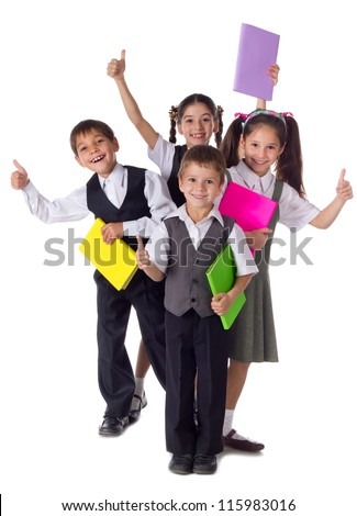 Four smiling schoolchild standing with colorful books and thumbs up sign, isolated on white