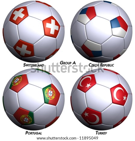 Four soccer-balls with flags of the countries in Group A in the European championship 2008. Hi-res 3D render with clipping path. - stock photo