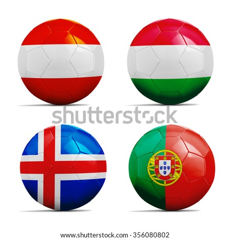 Four Soccer balls with group F team flags, Football Euro cup 2016.  - stock photo