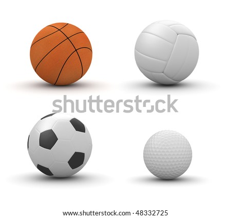 Four sport balls isolated: basketball, volleyball, football, golf (3d isolated on white background objects series) - stock photo