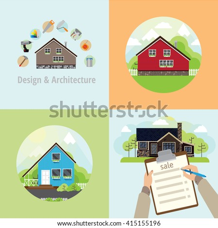 Four square banner with houses. Repair in a house, sell the house and the house with the landscape in a circle. - stock photo