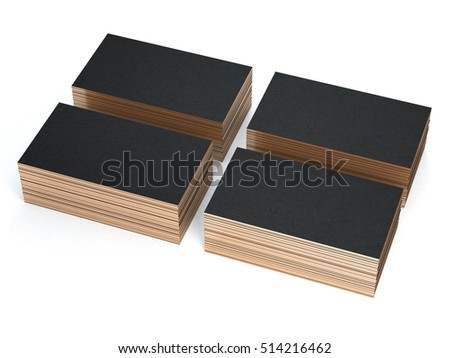 Four stacks of black Business cards, 3d rendering