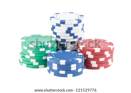Four stacks of poker chips isolated on white background