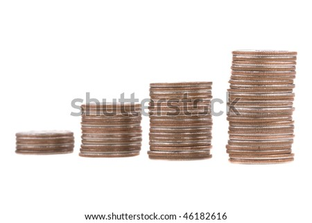 four stacks of quarters, descending from front to back