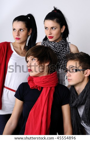 four teenagers - stock photo