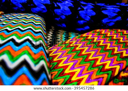 Four textile canvas for stacked one upon the other - stock photo