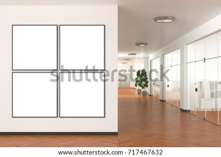 Four tiled blank posters on the wall in modern office. 3d illustration