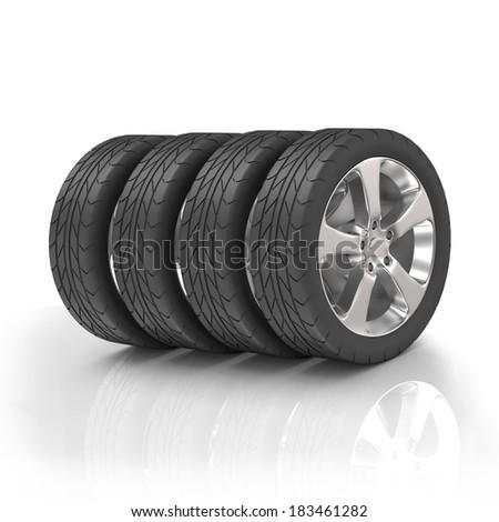 Four tires - stock photo