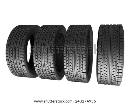 Four tires isolated on white background. 3d render illustration - stock photo