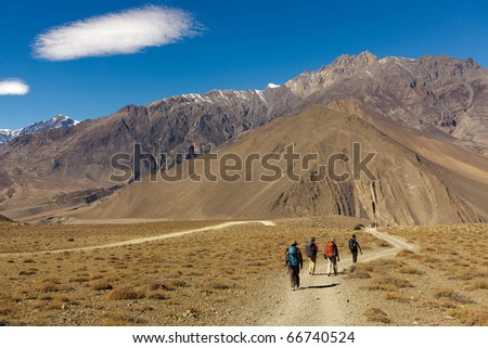 Four trekkers walking in annapurna landscape, Nepal