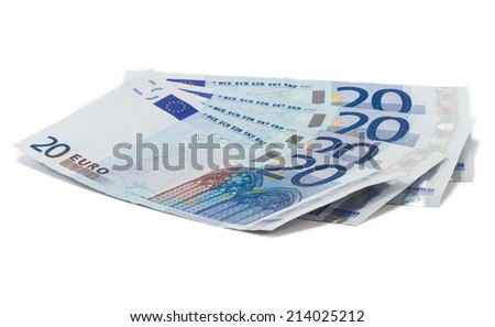 Four twenty Euro banknotes with white background