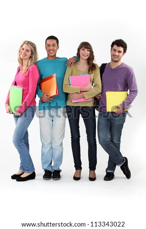 Four university students with folders - stock photo
