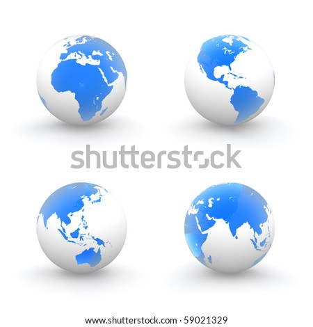 four views of a 3D globe with shiny blue transparent continents and a white ocean - stock photo