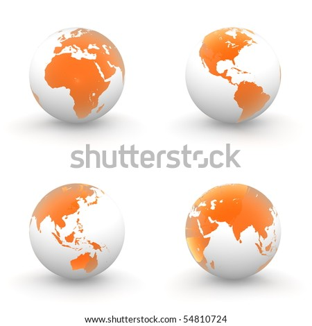 four views of a 3D globe with transparent orange continents and a white ocean - stock photo